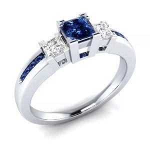 Elegant 925 Silver Blue Sapphire Ring